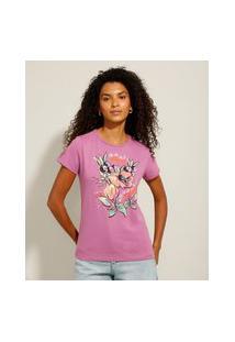 """Camiseta De Algodão """"Açaí Com Guaraná"""" Manga Curta Decote Redondo Roxa"""