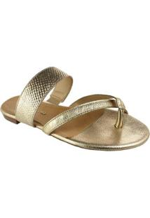 Tamanco Bottero Leather Feminino - Feminino-Dourado