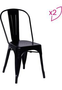 Jogo De Cadeiras De Jantar Retrô- Preto- 2Pçs- Oor Design
