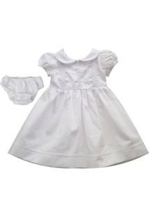 Vestido Para Batizado - 100% Algodão - Branco - Turma Mixirica - Gg