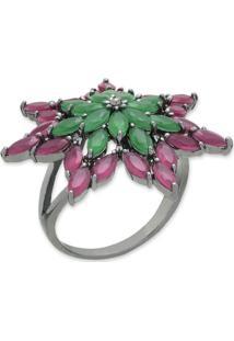 Anel Flor Com Zircônias Verdes E Rosa E Banho Em Ródio Aro 17