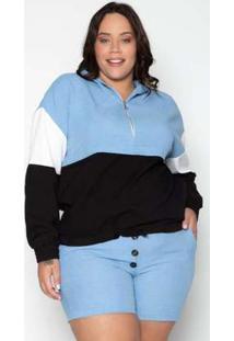 Jaqueta Plus Size Capuz Linho Azul Azul