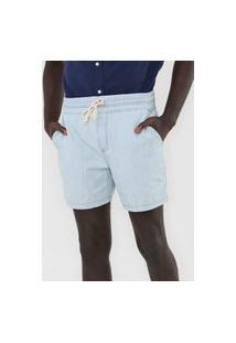 Bermuda Jeans Hering Reta Amarração Azul