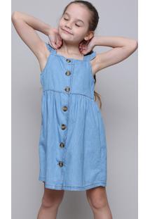 Vestido Jeans Infantil Com Botões E Babado Azul Médio