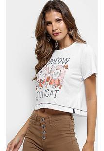 Camiseta Cantão Cropped Estampada Feminina - Feminino-Off White