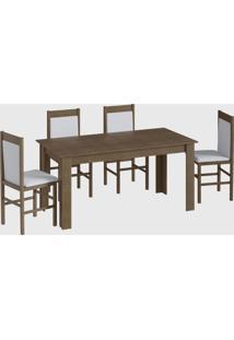 Conjunto Mesa Elast. 8 Cadeiras Marrom Móveis Canção