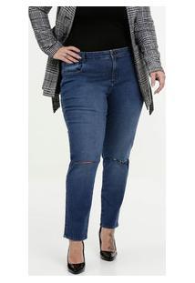 f2324e2c45db Calça Feminina Jeans Cigarrete Destroyed Plus Size Marisa
