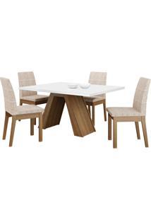 Sala De Jantar Madesa Liz Mesa Tampo De Madeira Com 4 Cadeiras