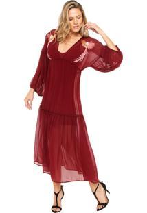Vestido Colcci Longo Loose Vinho