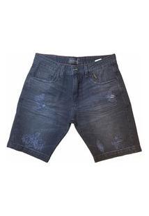 Bermuda Jeans Preta Destroyed.