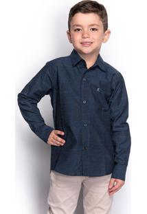 Camisa Social Infantil Menino Manga Longa Estampada Casual