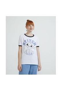 Camiseta Manga Curta Estampa Stitch | Lilo & Stitch | Branco | Pp