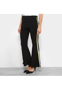 Calça Flare Top Moda Listrada Cintura Média Feminina - Feminino-Preto f78ca51f7beac