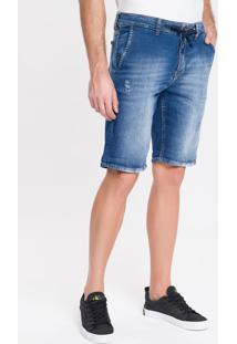 Bermuda Jeans Bolso Faca E Cadarço - Azul Médio - 36