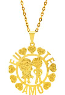Gargantilha Horus Import Eu Te Amo Banhada Ouro Amarelo 18 K 1060181
