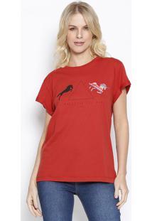 "Camiseta ""Be Whatever You Want"" - Vermelha & Preta -Sommer"