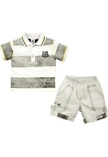 Conjunto Polo Shorts Meia Malha Oxford Menino Santos Reve Dor - 3 Anos - Masculino