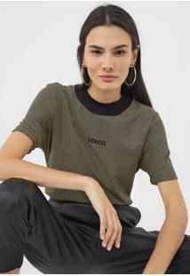 Camiseta Colcci Metalizada Dourada