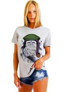 Camiseta Joss Feminina Estampada Macaco Boina - Feminino-Mescla