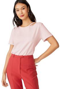 Amaro Feminino T-Shirt Gola Vazada, Rosa Claro