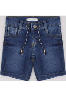 Bermuda Jeans Infantil Em Moletom Com Cordão Azul Escuro