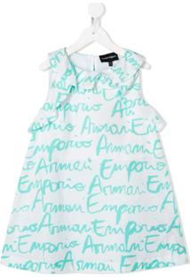 Emporio Armani Kids Vestido Com Estampa De Logo E Babados Na Gola - Branco