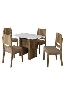 Conjunto De Mesa De Jantar Europa Amadeirado 1,20X0,80 C/ 4 Cadeiras Esmeralda Rv Móveis Branco/Marrom