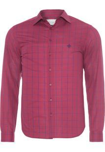Camisa Masculina Manga Longa Fio Tinto - Vermelho