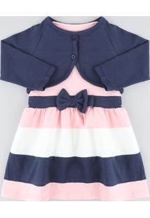 Vestido Infantil Sem Manga Rosa Claro + Bolero Manga Longa Azul Marinho