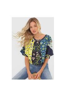 Camiseta Forum Floral Azul/Verde