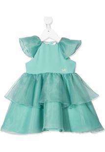 Elisabetta Franchi La Mia Bambina Vestido Com Logo Bordado E Amarração - Verde