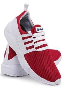 Tênis Masculino Leve Macio Conforto - Masculino-Vermelho+Branco