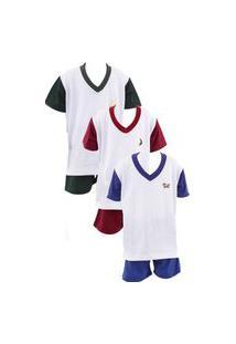 Kit 3 Pijamas Curto Infantil Menino Soneca & Cia Multicolorido