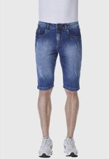 Bermuda Jeans Hno Jeans Puidos Masculina - Masculino-Azul