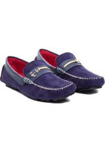 Sapato Mocassim Drive Confort Sintético Sola Natan Dmt Masculino - Masculino-Azul