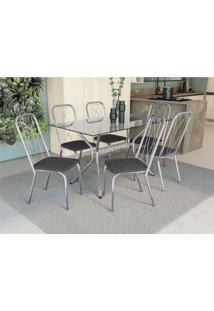 Conjunto Mesa Loire C/ 6 Cadeiras Viena Cromado/Preto Linho Cinza Kappesberg