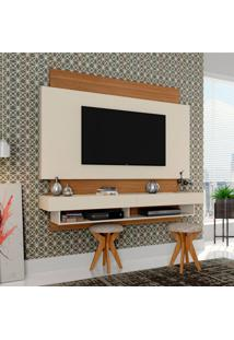 Painel Para Tv 65 Polegadas Araxá Branco Brilho E Freijo 181 Cm