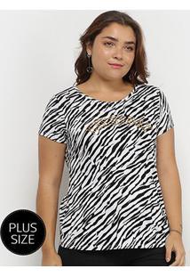 Camiseta Lecimar Plus Size Animal Print Zebra Feminina - Feminino-Preto