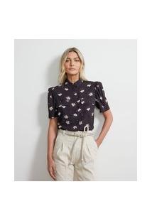 Camisa Manga Curta Em Crepe Com Estampa Floral | Atelier | Preto | Gg