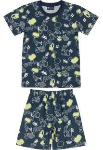 Pijama Curto Infantil Masculino Azul