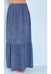 Saia Soltinha Jeans Azul Moda Evangélica