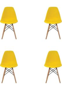Kit 4 Peças Cadeira Eames Eiffel Rivatti Sem Braço Pp Base Madeira Amarela