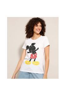 Camiseta De Algodão Mickey Manga Curta Decote Redondo Off White