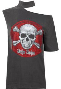 Camiseta John John Red Skull Malha Algodão Cinza Feminina (Cinza Medio, M)
