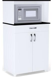 Balcão Multiuso Para Forno/Microondas Carina Flex Branco/Preto - Ajl Móveis