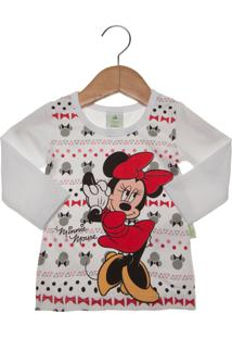 Camiseta Brandilli Minnie Disney Infantil Branca