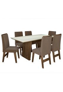 Conjunto De Mesa Para Sala De Jantar Com 6 Cadeiras Vigo -Dobuê Movelaria - Castanho / Branco Off / Castor Bord