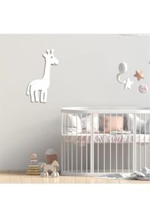Escultura De Parede Em Mdf Girafa Infantil Branco - Médio