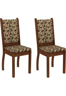 Conjunto Com 2 Cadeiras Viena Linho Rustic E Floral Bege