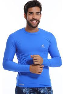 Camisa Uv Masculina Com Proteção Solar Fator 50 Azul Royal Multicolorido